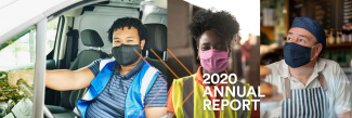Frontline workers on cover of Amalgamated Foundation's 2020 Annual Report